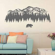 Amazon Com Mountain Wall Decal Art Bear Wall Decals For Bedroom Mountain Wall Decoration Mountain Wall Stickers For Nursery Ik3428 Handmade