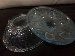 light blue candy dish w lid