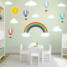 Amazon Com Rainbow Hot Air Balloons Sun And Clouds Kids Wall Stickers Peel And Stick Removable Wall Decals For Kids Nursery Bedroom Living Room Kitchen Dining