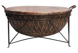 metal rawhide kettle drum table