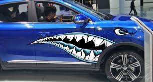 17 28 Free Shipping Shark Mouth Sharp Teeth Side Car Decoration Decal Sticker Blue At M Fasttech Com Fasttech Mobile