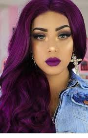 glam purple hair and makeup inspiring