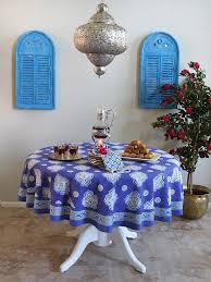 Moroccan Round Tablecloth, Blue Round Tablecloth , Round Tablecloth    Saffron Marigold