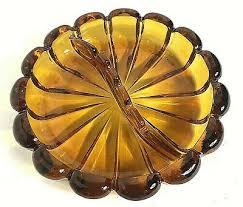 amber glass ashtray scalloped edge