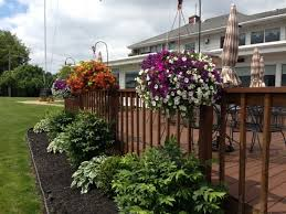 Incredible Shepherd Hooks And Hanging Baskets On Deck Outdoorindoor Hanging Plants On Fence Liberty Fence And Deck
