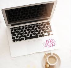Decal For Laptop Monogram Decal Computer Monogram Decal Etsy