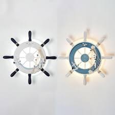 Mediterranean Ship Wheel Wall Lamp Boys Room Acrylic Led Wall Lighting In White Blue Takeluckhome Com