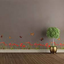 Poppies Butterflies Border Decal Home D Eacute Cor Line Wall Decals