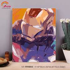 Tranh tô màu theo số sơn dầu số hóa NV0852 Tranh người sắt Iron man Avengers  Biệt đội siêu anh hùng