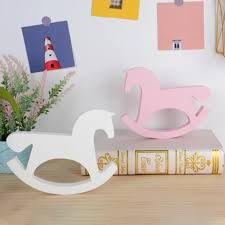 Figurines Miniatures White Pink Wooden Rocking Horse Wedding Ornament Kids Room Decoration Toys Home Decor Crafts 1pc Party Diy Decorations Aliexpress
