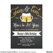 Surprise Cheers Beers Birthday Party Invitation Zazzle Com