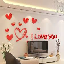 Romantic Loving Heart Wall Sticker Wall Decals Living Room Wedding Home Decor 3d Stickers Red And Pink Wallpaper Large Size Wall Stickers Aliexpress