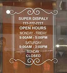 Amazon Com Custom Store Business Office Hours Vinyl Window Glass Door Decal Sticker Sign 12 W X14 H Office Products