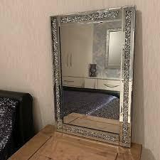 40x60 silver diamante wall mirror girls