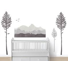 Mountain Fabric Wall Decals Mountain And Pine Tree Watercolor Decals Eco Wall Decals