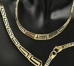 14k gold designer greek key necklace