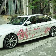 Graphics Cherry Blossom Car Sticker Lovely Flower Waist Line Vinyl Decal 2 Sides Ebay