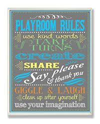 Amazon Com The Kids Room By Stupell Gray Playroom Rules Use Kind Words Rectangle Wall Plaque 11 X 0 5 X 15 Proudly Made In Usa Baby