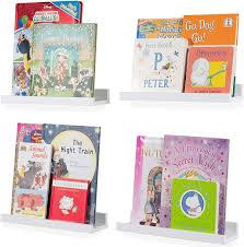 Amazon Com Wallniture Denver Floating Shelves For Kids Room Decor 14 White Bookshelf For Picture Frames Toddler Toys Set Of 4 Home Kitchen