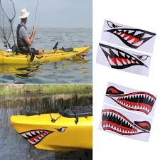 Reflective Decals Sticker Fishing Boat Canoe Car Truck Kayak Decor Shark Teeth Mouth Pattern Decoration Accessories Home
