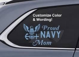 Proud Navy Mom Dad Husband Wife Custom Vinyl Decal Us Etsy Custom Vinyl Decal Navy Mom Custom Window Stickers