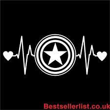 Cci Captain America Love Heartbeat Avengers Marvel Decal Vinyl Sticker Cars Trucks Vans Walls Laptop White 6 5 X 2 5 In Cci1462 Vinyl Sticker Van Wall Marvel