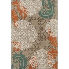 contemporary beige and orange area rug
