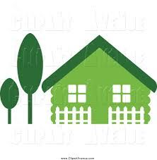 Avenue Clipart Of A Green House With Trees And A Picket Fence By Vector Tradition Sm 1921
