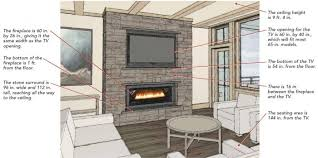 arranging a fireplace and a television