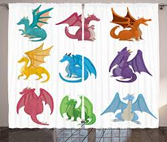 Amazon Com Ambesonne Dragon Curtains Little Baby Winged Dragons In Reptile Kids Nursery Cartoon Living Room Bedroom Window Drapes 2 Panel Set 108 X 84 Multicolor Home Kitchen