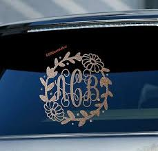 Glittery Floral Monogram Car Window Decals Personalized Initials Daisy Stickers 9 50 Picclick