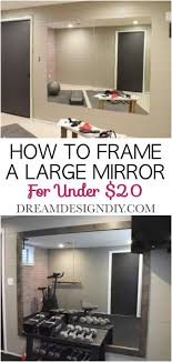 wood frame to a large wall mirror