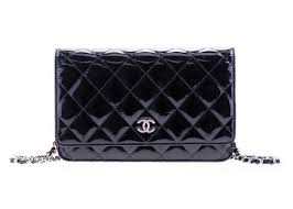 chanel black patent leather wallet on