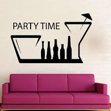 Party Time Wall Sticker Fun Nightclub Drink Wine Bottle Cup Vinyl Window Decal Interior Decoration Removable Creative Mural M573 Wall Stickers Aliexpress