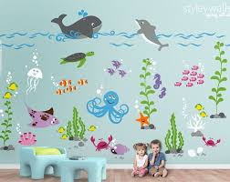 Under The Sea Wall Decal Fishes Wall Decal Ocean Wall Etsy Playroom Wall Decals Kids Wall Decor Playroom Wall