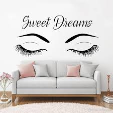 Sweet Dreams Quotes Eyelashes Wall Decals Modern Vinyl Wall Art Decor For Nursery Room Bedroom Decal Eyebrow Wall Quote Wall Decal Quotes Wall Decal Sale From Onlinegame 11 58 Dhgate Com