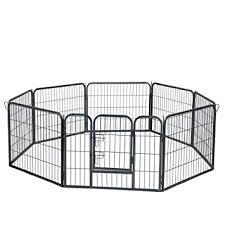 Cats Pet Puppy Playpen Dog Fence Exercise Pen Metal Heavy Duty Indoor Outdoor 8 Panels Animal Playpens For Dogs With Door 24 Cat Doors Steps Nets Pens Outdoor Pens