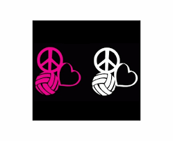 Peace Love Volleyball Window Decal Choice Of Pink Or White Volleyball Window Decals