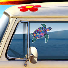 Sea Turtle Car Decal Colorful Blue Floral Pattern Beach Bumper Etsy
