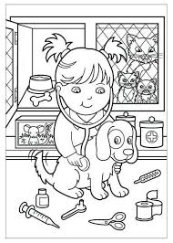 Veterinarian Girl Cartoon In 2020 Kleurplaten Huisdieren