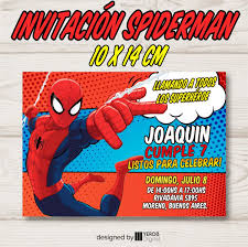 Tarjeta De Invitacion Spiderman Hombre Arana Pack X10 Uni