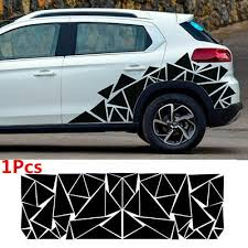 78x23in Geometric Triangle Graphics Decal Glossy Black Sticker For Car Body Side Ebay