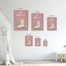 Cute Alpaca Pink Purple White Blue Background 4 Pieces Set Kids Room W Smile Art Design