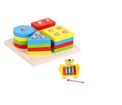 Đồ Chơi Montessori Bảng Chuỗi Thả Hình Bằng Gỗ Giúp Bé Học Phân Biệt Màu Sắc  Hình Khối Tặng Kèm Đàn Xylophone 4 Thanh Họa Tiết Ngẫu Nhiên Cho Bé