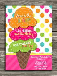 Ice Cream Birthday Invitation Invitaciones Para Fiestas