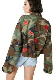 lip patches camo jacket