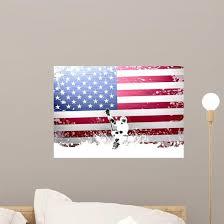 Usa Flag Lacrosse Wall Decal Wallmonkeys Com