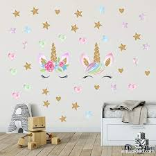 Unicorn Wall Decals Unicorn Wall Sticker Decor With Heart Flower Birthday Christmas Gifts For Boys Girls