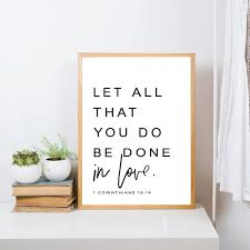 Bible Verse Wall Art Prints Poster Let All You Do Be Done In Love Canvas Paint Ebay