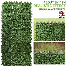 Green Style Artificial Leaf Hedge Privacy Screen Willow Trellis Garden Fence Uk Ebay
